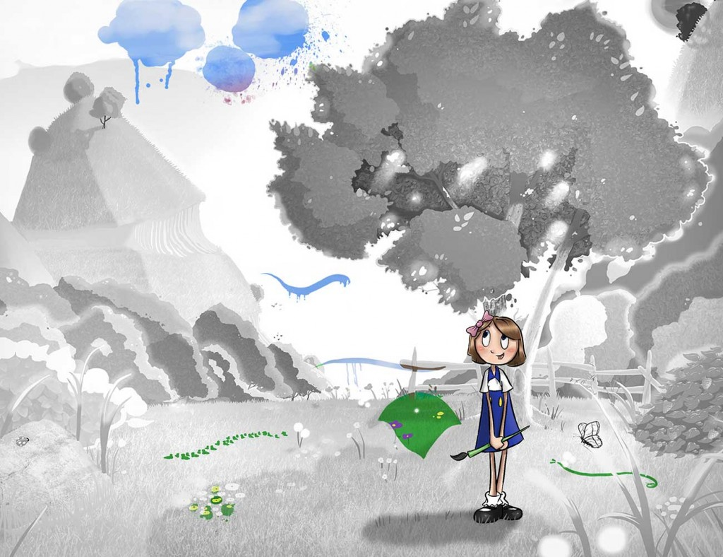 Kids illustration from short story Sticks Masterpiece by Brothers Whim - girl with a paint brush in magical land