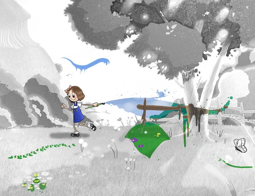 Kids illustration from short story Sticks Masterpiece by Brothers Whim - girl in grey field painting colour
