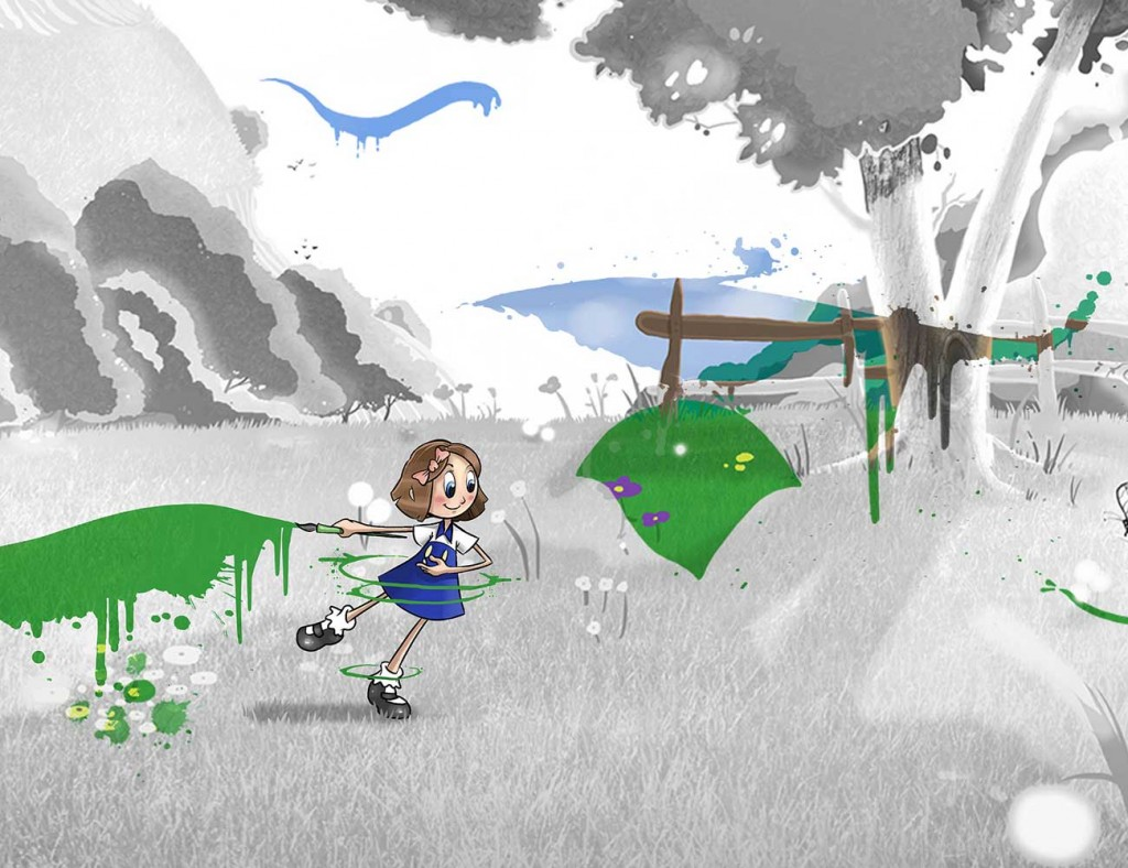 Kids illustration from short story Sticks Masterpiece by Brothers Whim - girl adding colour to sad landscape