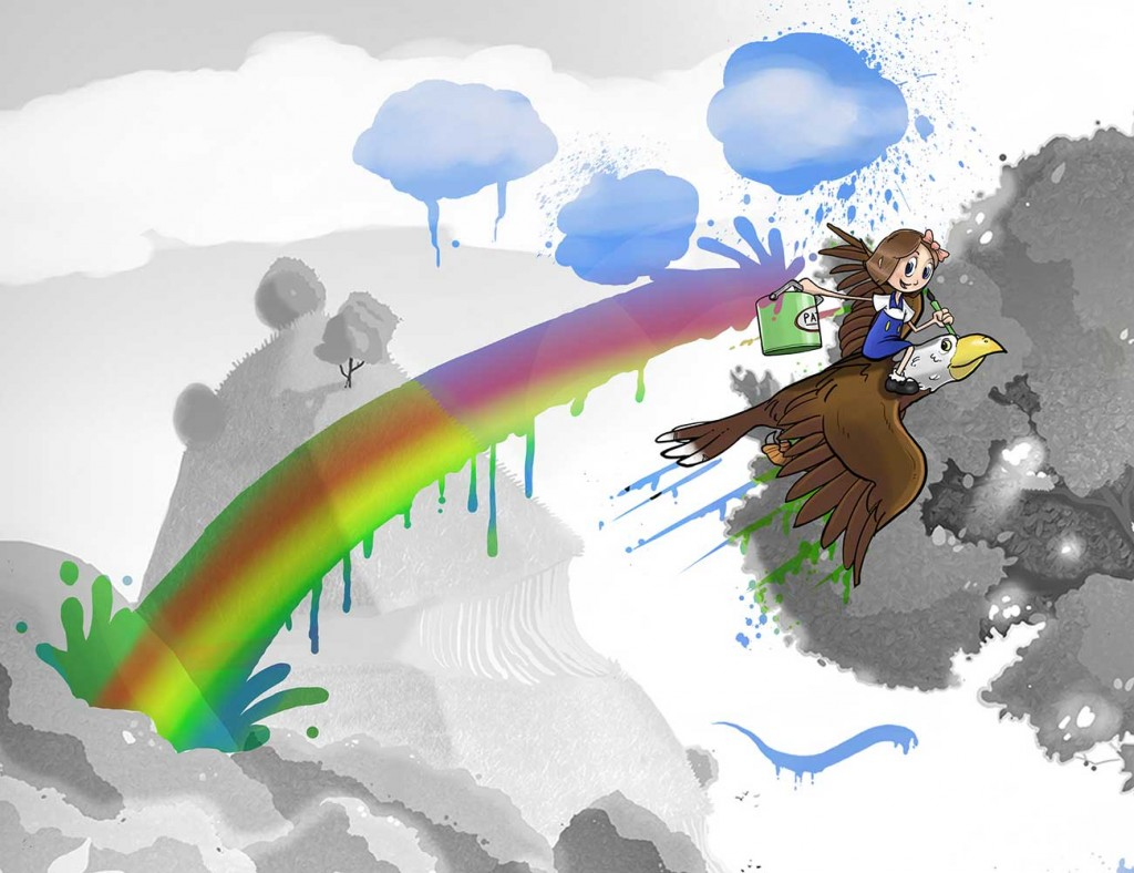 Kids illustration from short story Sticks Masterpiece by Brothers Whim - girl flying on eagle with rainbow