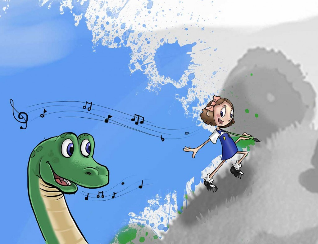 Kids illustration from short story Sticks Masterpiece by Brothers Whim - girl on cloud and dinosaur