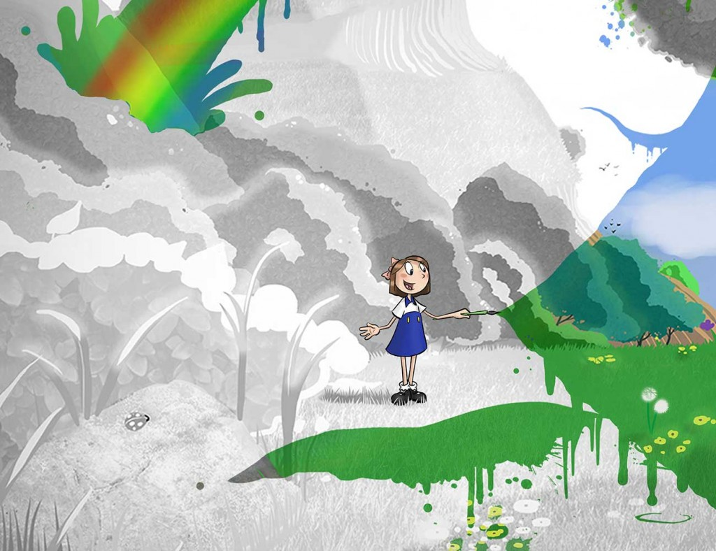 Kids illustration from short story Sticks Masterpiece by Brothers Whim - girl adding colour to grey landscape