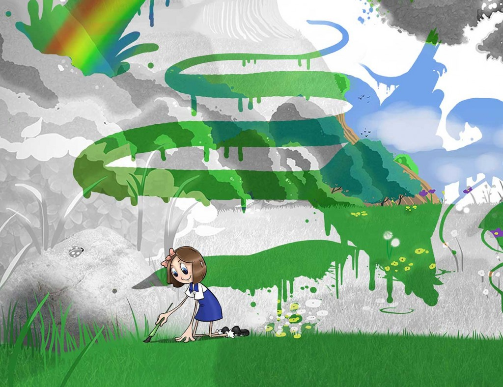 Kids illustration from short story Sticks Masterpiece by Brothers Whim - girl painting landscape magic