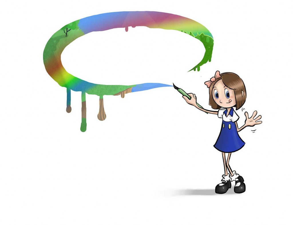 Illustration from Sticks Masterpiece by Brothers Whim - girl drawing rainbow