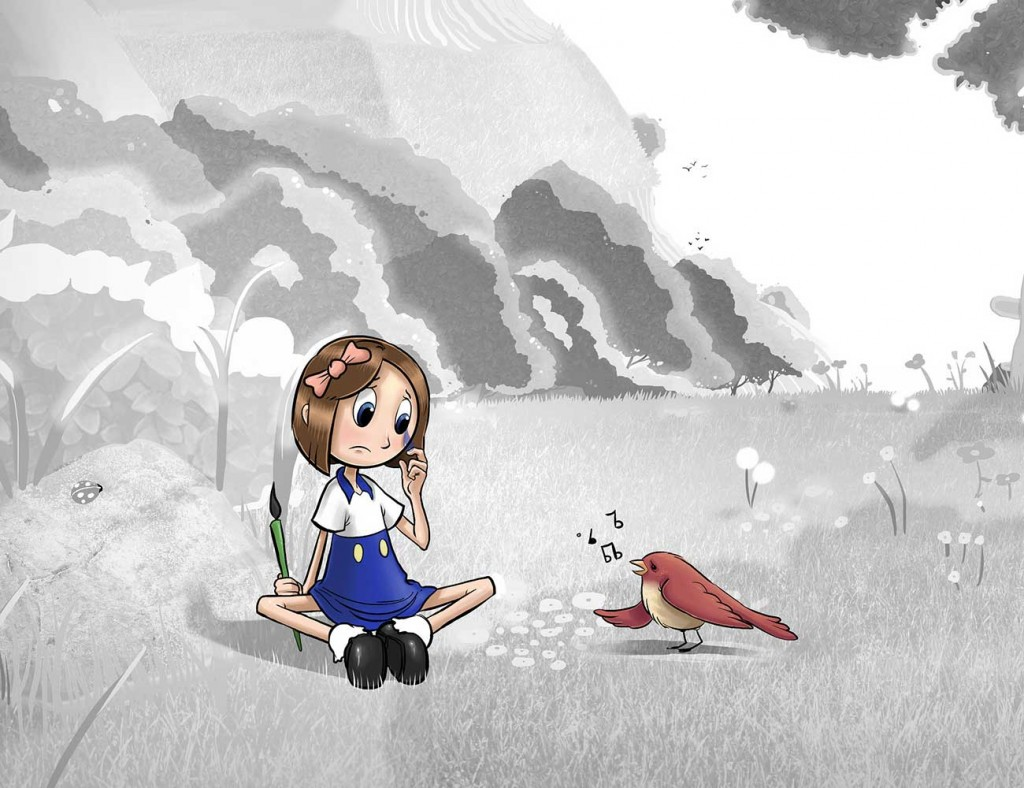 Kids illustration from short story Sticks Masterpiece by Brothers Whim - girl sitting with singing bird