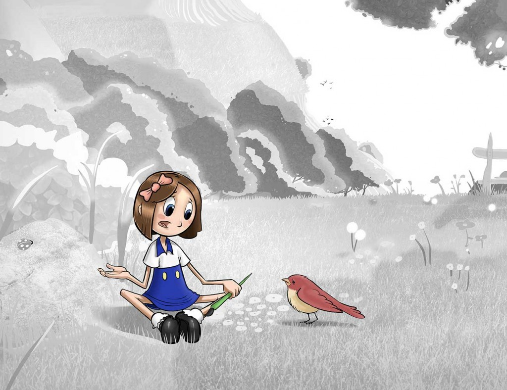 Kids illustration from short story Sticks Masterpiece by Brothers Whim - girl talking to sparrow bird