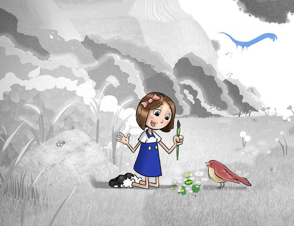 Kids illustration from short story Sticks Masterpiece by Brothers Whim - girl with paintbrush talking to sparrow bird