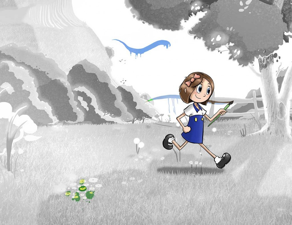 Kids illustration from short story Sticks Masterpiece by Brothers Whim - girl running in field with paint brush