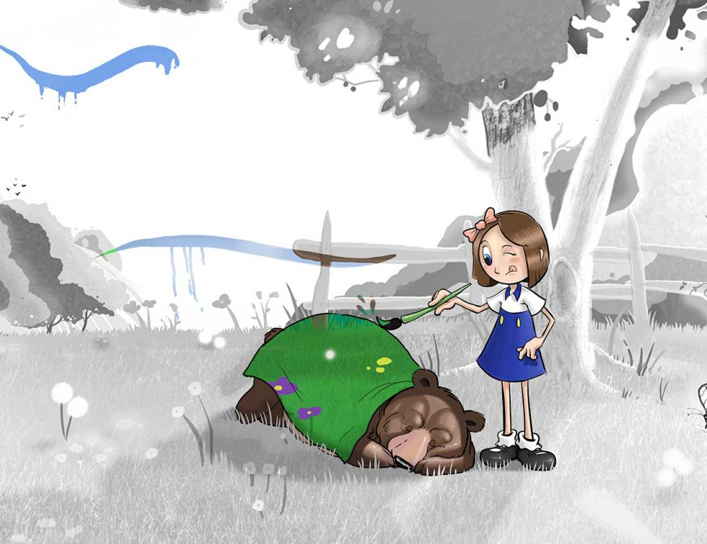 Kids illustration from short story Sticks Masterpiece by Brothers Whim - girl painting a sleeping bear's blanket