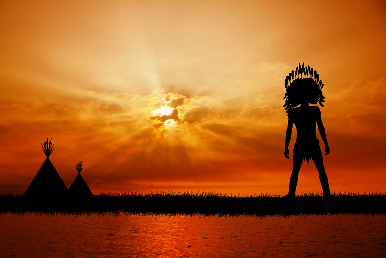 Illustration of american indian silhouette at sunset for kids short story The Star Wife