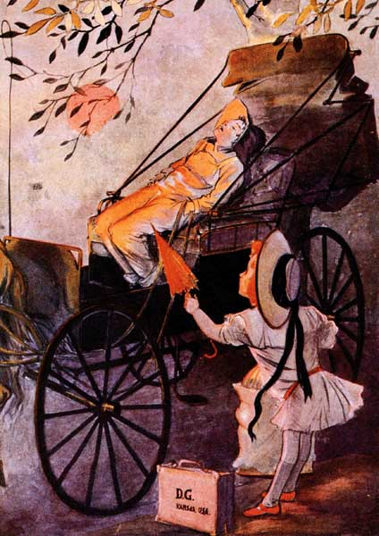 Vintage illustration of Dorothy meeting boy in buggy from Wizard of Oz childrens story