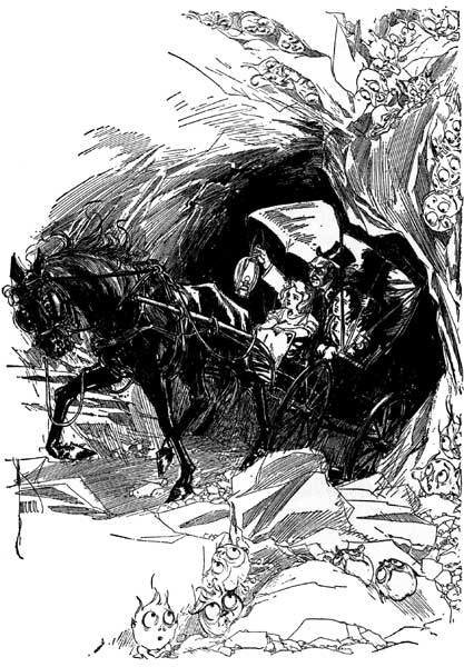 Vintage illustration of horse and buggy in black pit for childrens story Wizard of Oz