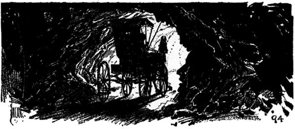 Vintage illustration of horse and buggy silhouette for childrens story Wizard of Oz