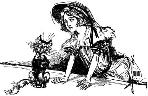 Vintage illustration of Dorothy and Eureka for childrens story Wizard of Oz