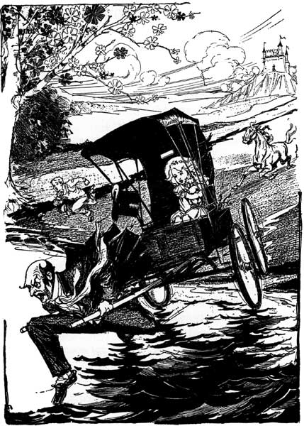Vintage illustration of horse and buggy escaping bears for childrens story Wizard of Oz