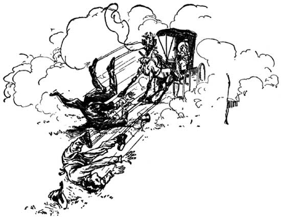 Vintage illustration of horse and buggy falling for childrens story Wizard of Oz