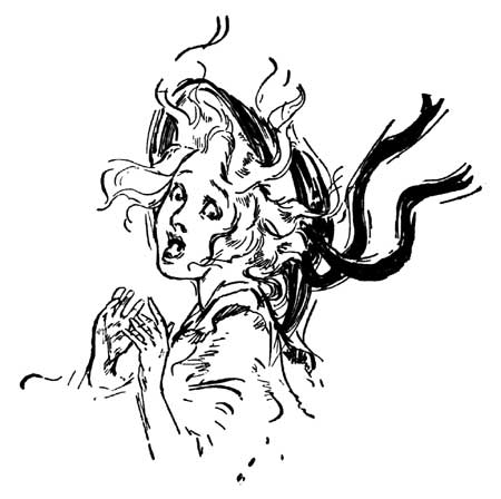 Vintage illustration of Dorothy frightened face from Wizard of Oz childrens story