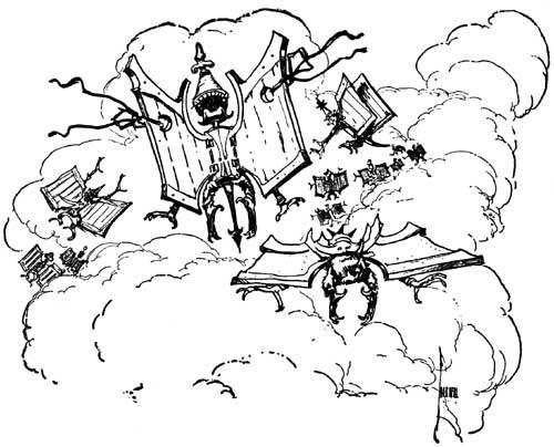 Vintage illustration of wooden gargoyles for childrens story Wizard of Oz