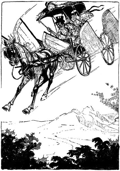 Vintage illustration of Jim the horse and buggy in the air for childrens story Wizard of Oz