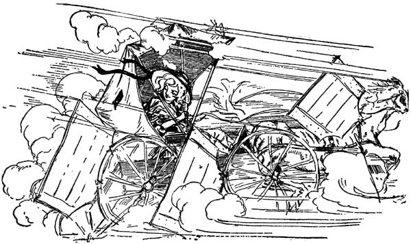 Vintage illustration of the horse and buggy escaping gargoyles for childrens story Wizard of Oz