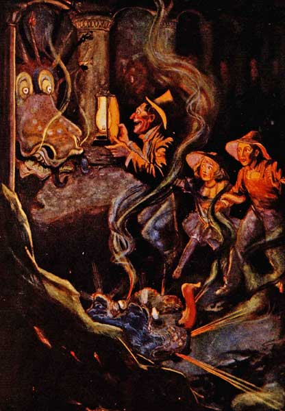 Vintage illustration of dragon in lair for childrens story Wizard of Oz