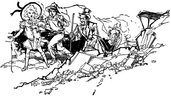 Vintage illustration of group emerging from dragon hole for childrens story Wizard of Oz