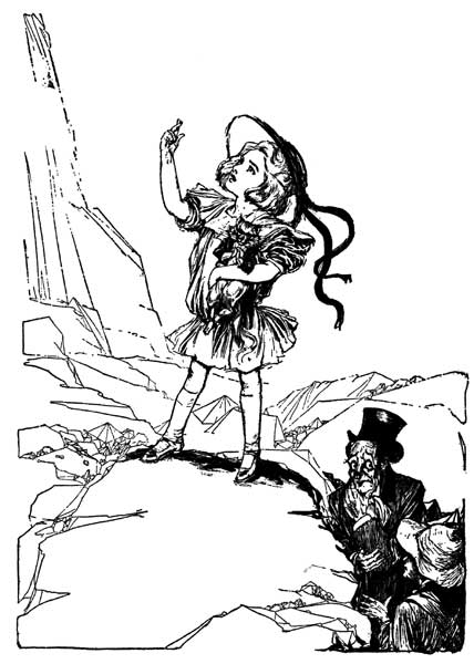 Vintage illustration of Dorothy making the signal for childrens story Wizard of Oz