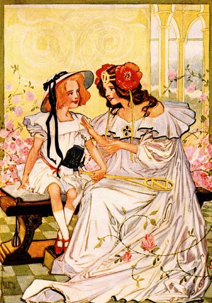 Vintage illustration of Dorothy and Ozma for childrens story Wizard of Oz