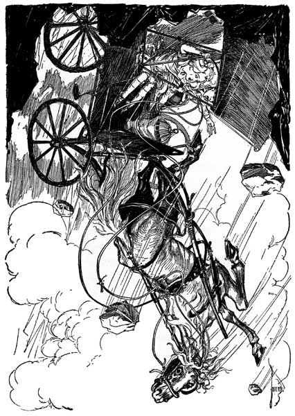 Vintage illustration of falling carriage in earthquake from Wizard of Oz childrens story