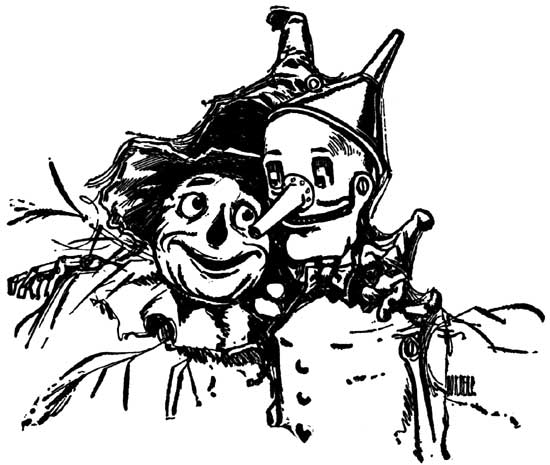 Vintage illustration of tin man and scarecrow for childrens story Wizard of Oz