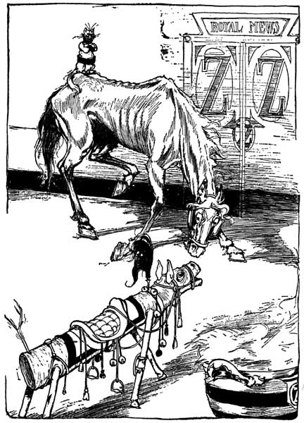 Vintage illustration of Jim and the sawhorse for childrens story Wizard of Oz