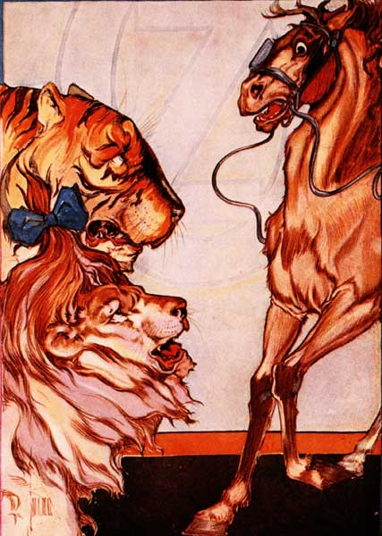 Vintage illustration of Jim the horse frightened of lion and tiger for childrens story Wizard of Oz