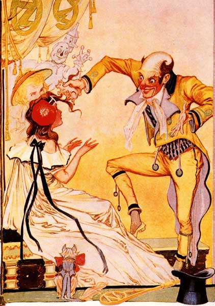 Vintage illustration of Wizard taking piglet from Ozma's hair for childrens story Wizard of Oz