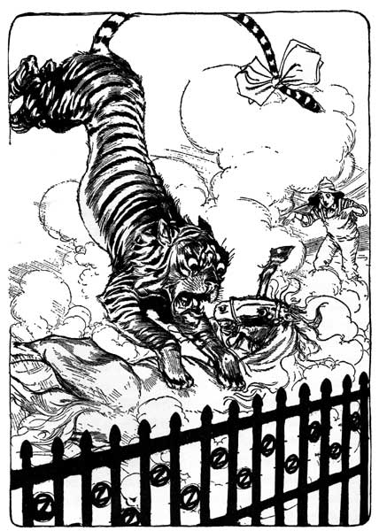 Vintage illustration of leaping tiger from Ozma's hair for childrens story Wizard of Oz