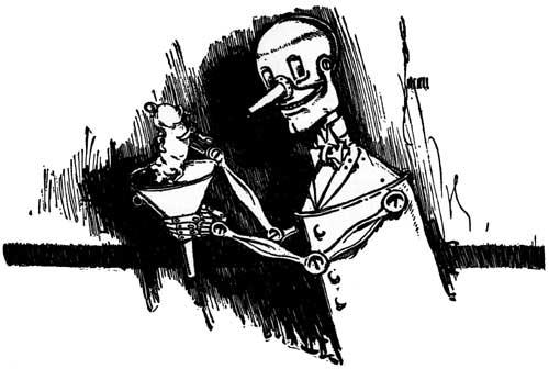 Vintage illustration of smiling tin man for childrens story Wizard of Oz