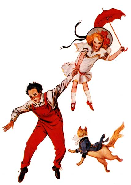 Vintage illustration of Dorothy and Zeb falling from Wizard of Oz childrens story