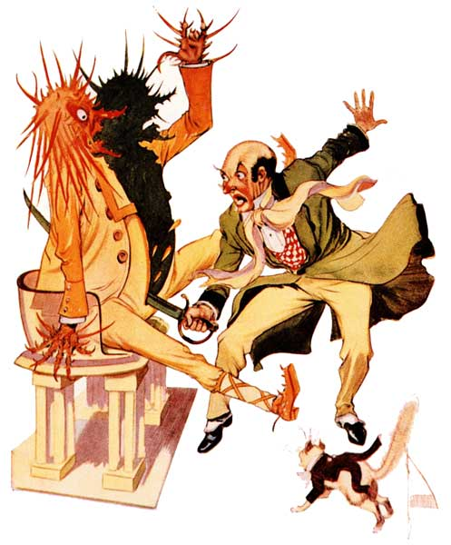 Vintage illustration of the wizard cutting the sorcerer in two for childrens story Wizard of Oz