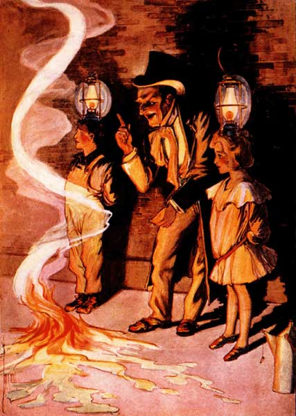Vintage illustration of the Wizard and a fire for childrens story Wizard of Oz
