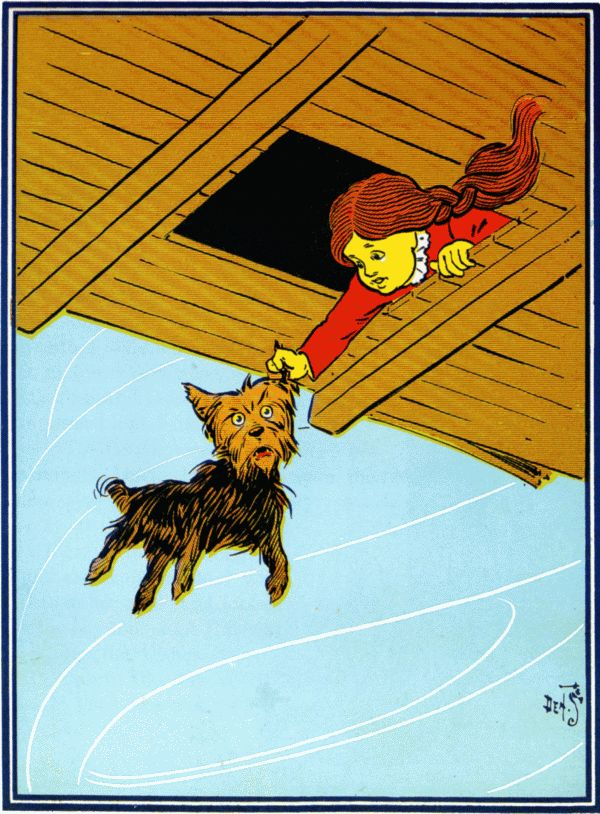 Vintage illustration from original Wonderful Wizard of Oz of Dorothy and Toto in hurricane house