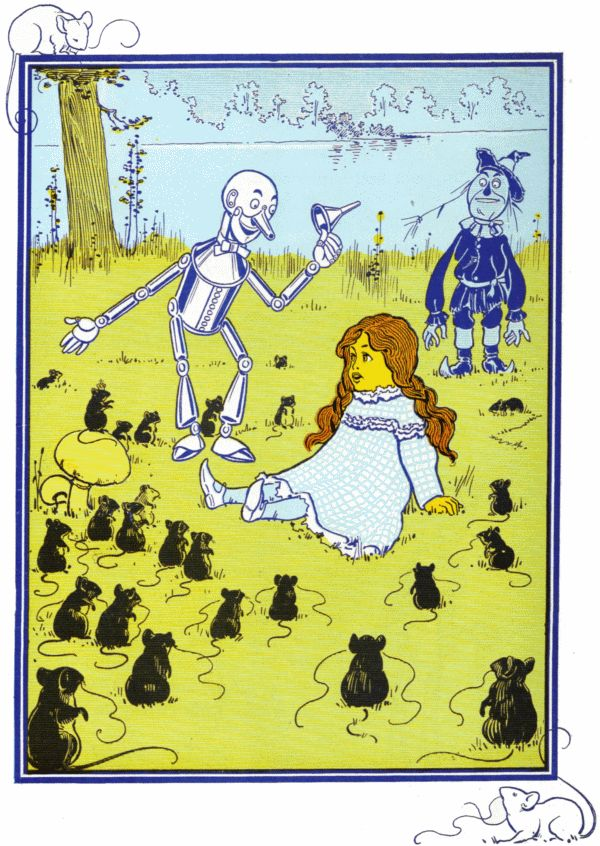 Vintage illustration from original Wonderful Wizard of Oz of Dorothy, scarecrow and tin man and lots of mice