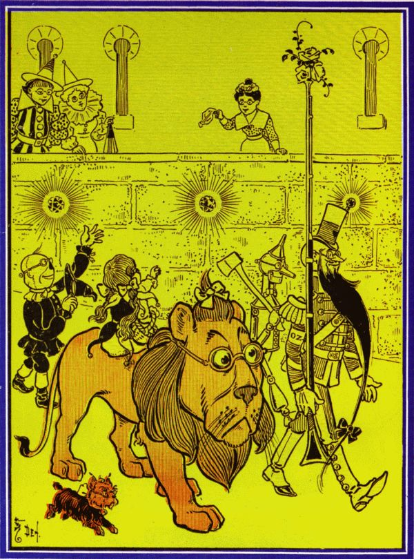 Vintage illustration from original Wonderful Wizard of Oz of lion and procession