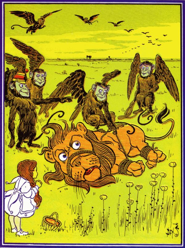 Vintage illustration from original Wonderful Wizard of Oz of winged monkeys attacking lion