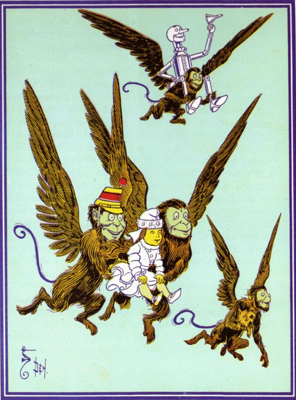 Vintage illustration from original Wonderful Wizard of Oz of winged monkeys