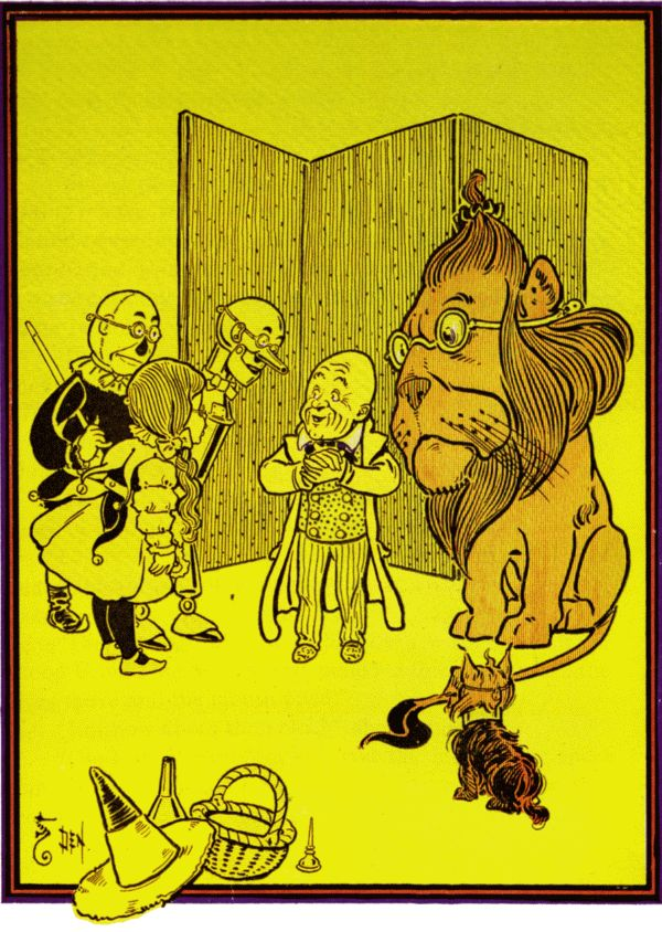 Vintage illustration from original Wonderful Wizard of Oz of lion and company