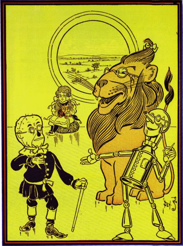 Vintage illustration from original Wonderful Wizard of Oz of lion scarecrow and tinman talking