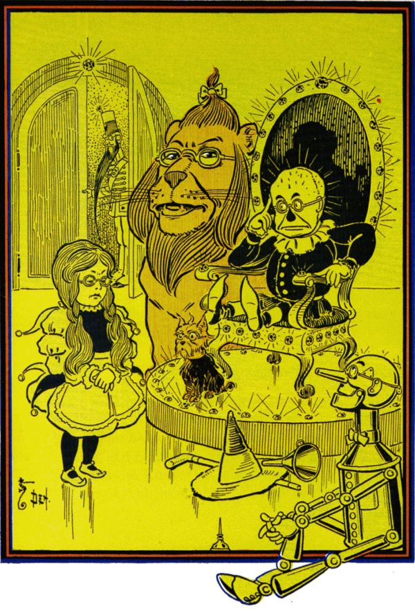 Vintage illustration from original Wonderful Wizard of Oz of Dorothy and friends