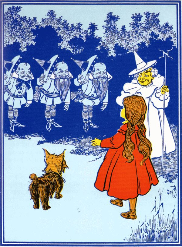 Vintage illustration from original Wonderful Wizard of Oz of Dorothy and munchkins
