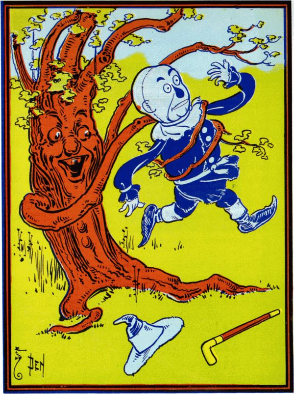 Vintage illustration from original Wonderful Wizard of Oz of tree catching scarecrow