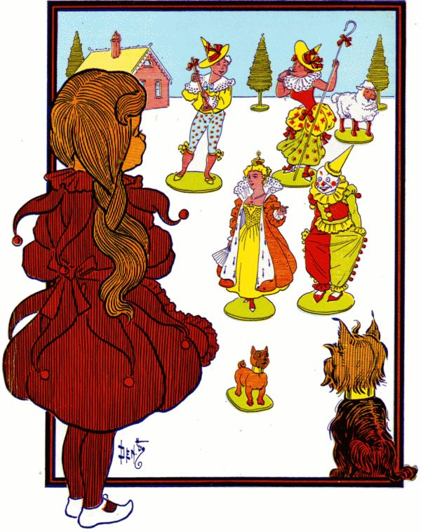 Vintage illustration from original Wonderful Wizard of Oz of Dorothy and land of Oz