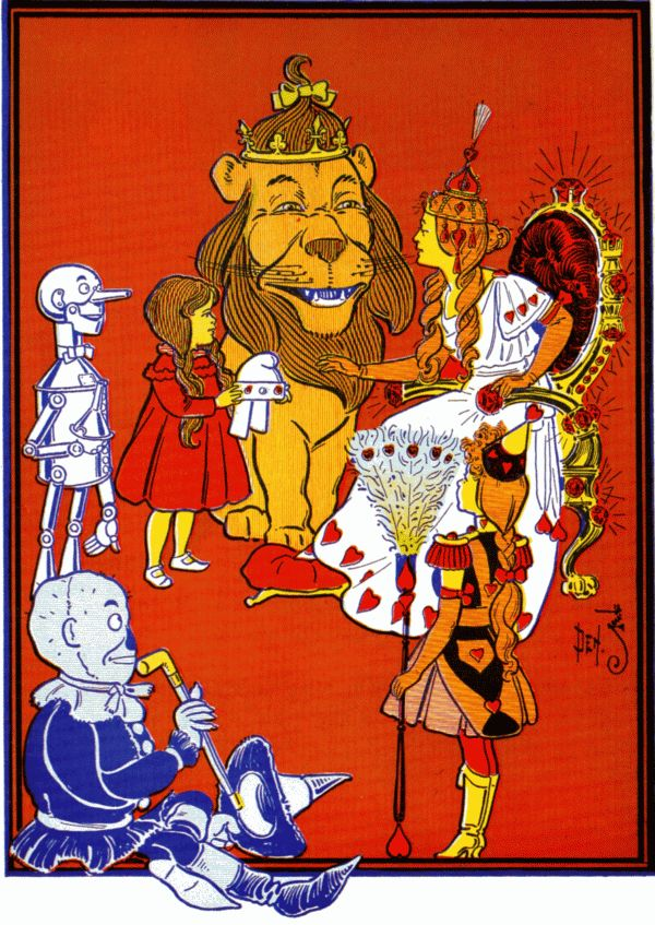 Vintage illustration from original Wonderful Wizard of Oz of lion, Dorothy and friends in Queen's court